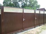 Забор из Профнастила. Откатные ворота.